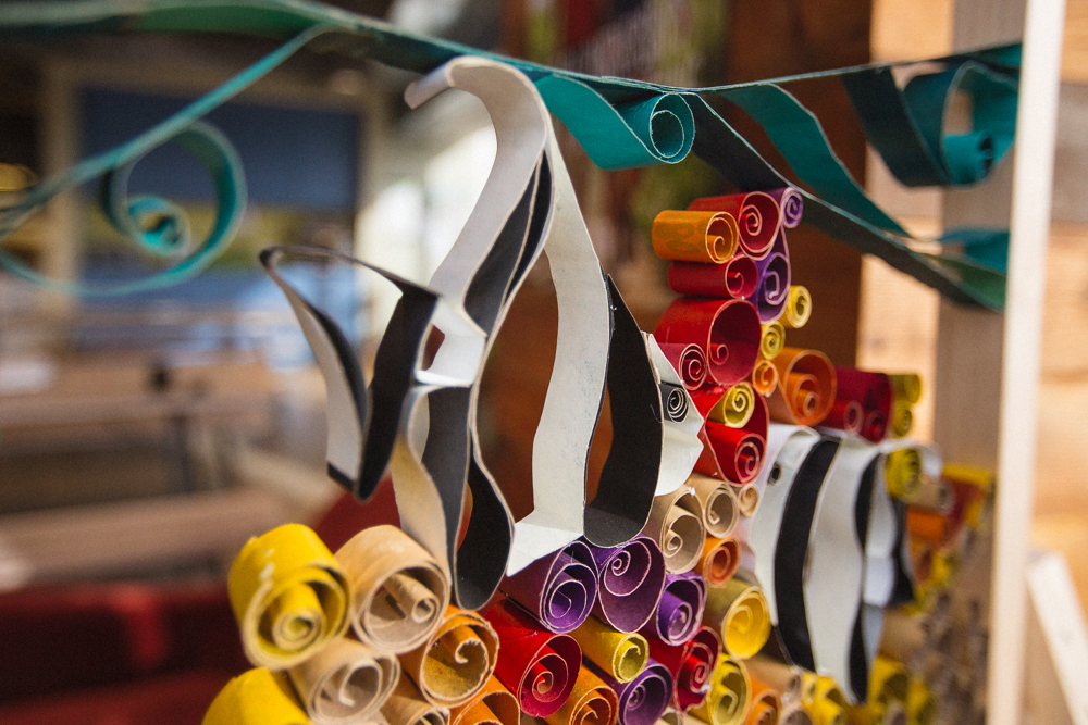 Sculptural quilling installation by DUOFAB