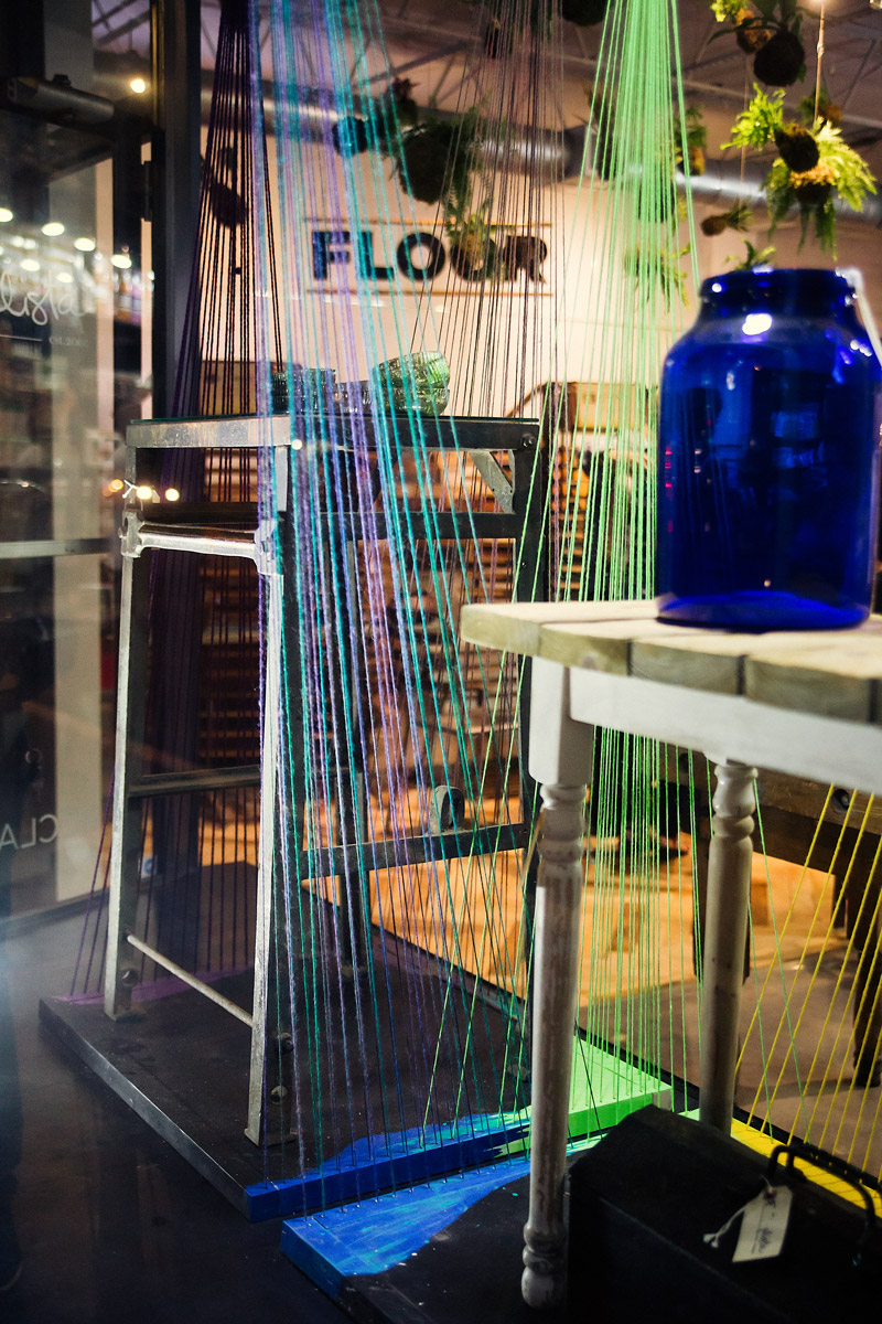 paint turned string window display by DUOFAB